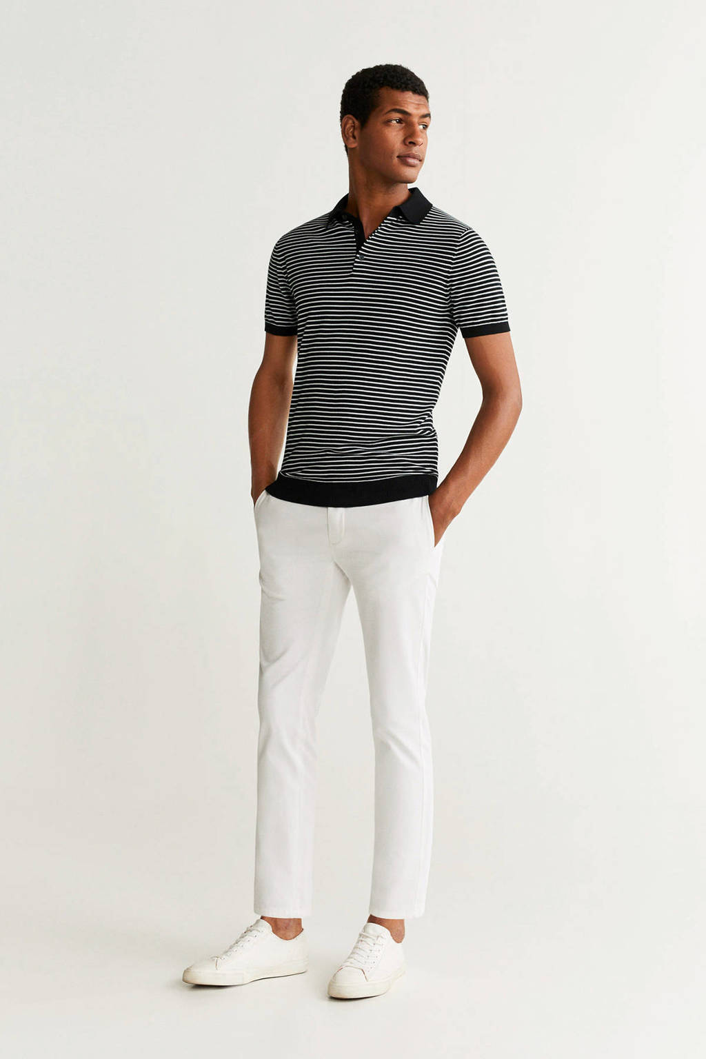 Mango Man gestreepte slim fit polo zwart, Zwart/wit
