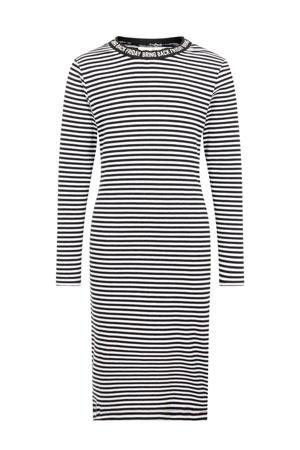 gestreepte maxi jurk Folla met biologisch katoen zwart/ wit
