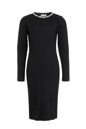 ribgebreide maxi jurk Folla met biologisch katoen zwart/wit