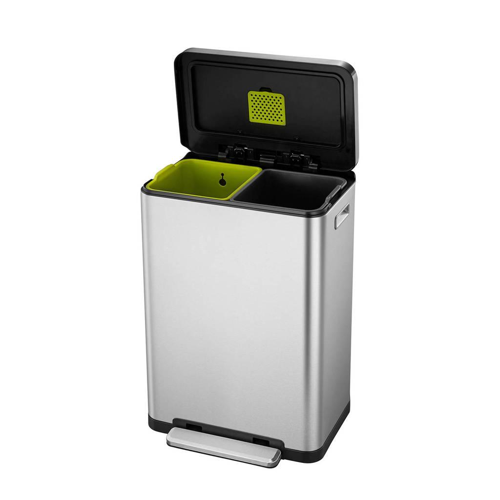 EKO X-Cube 20+20 liter prullenbak, Mat rvs