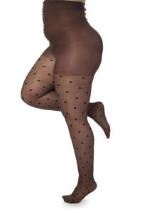 Pamela Mann super curvy + size panty 30 denier taupe, Taupe / zwart