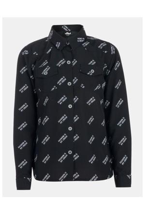 blouse Carmen met all over print zwart