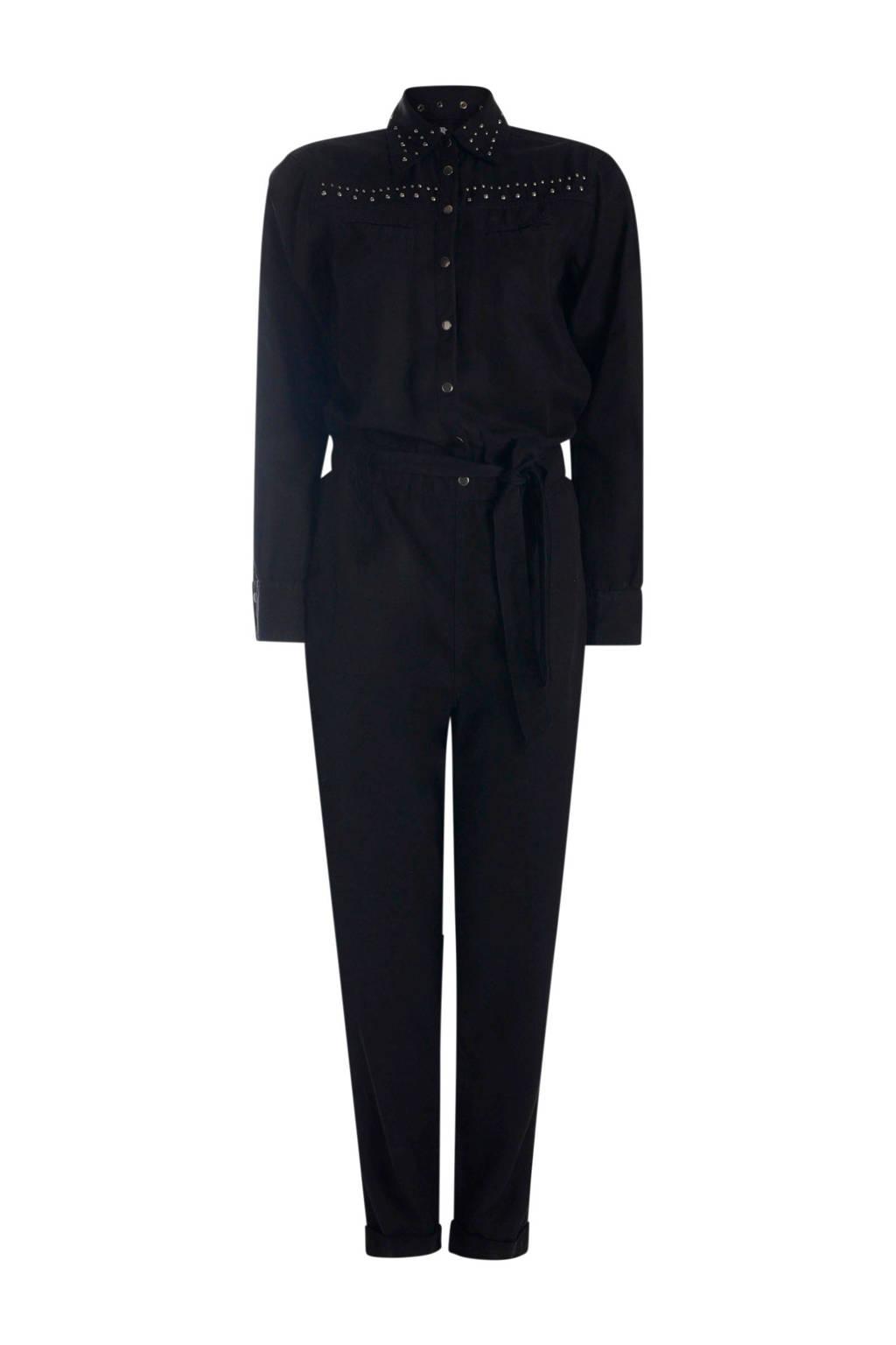 Eksept by Shoeby jumpsuit met studs zwart, Zwart