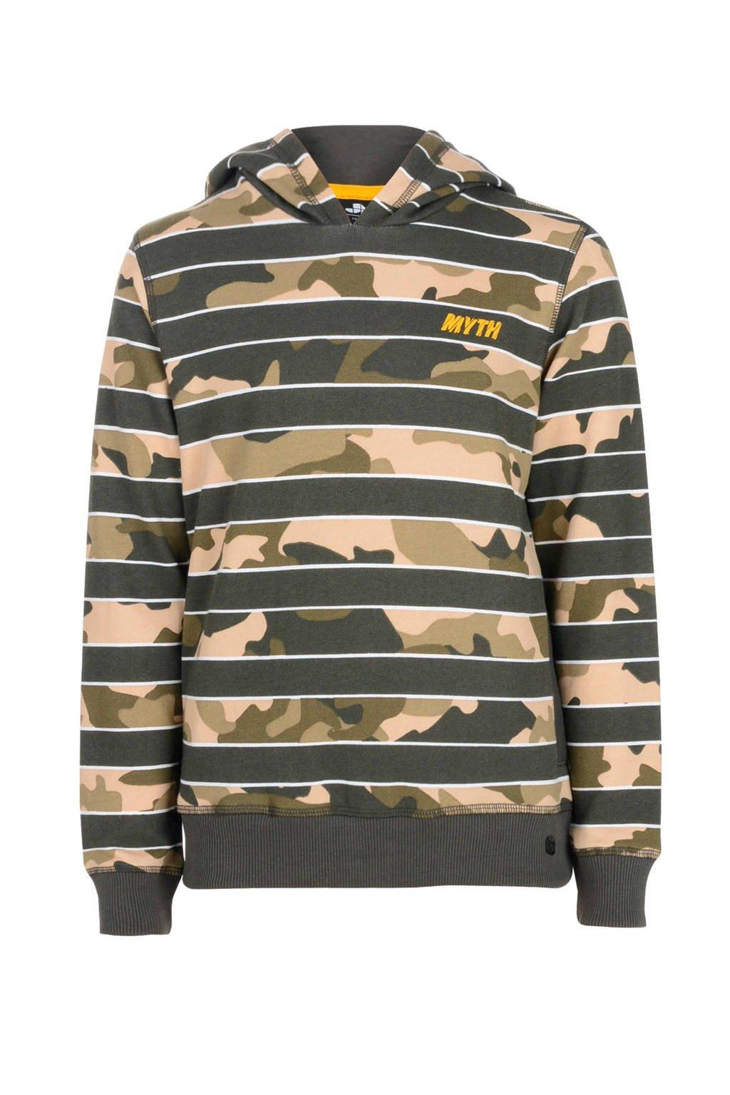 Mitch hoodie Capo met camouflageprint grijs/beige/kaki, Grijs/beige/kaki