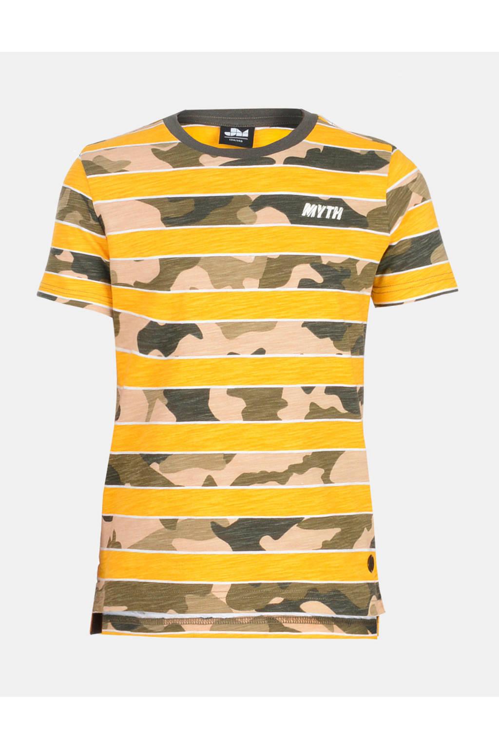 Mitch T-shirt Chess met camouflageprint geel, Geel