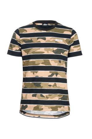 T-shirt Chess met camouflageprint beige/bruin/zwart