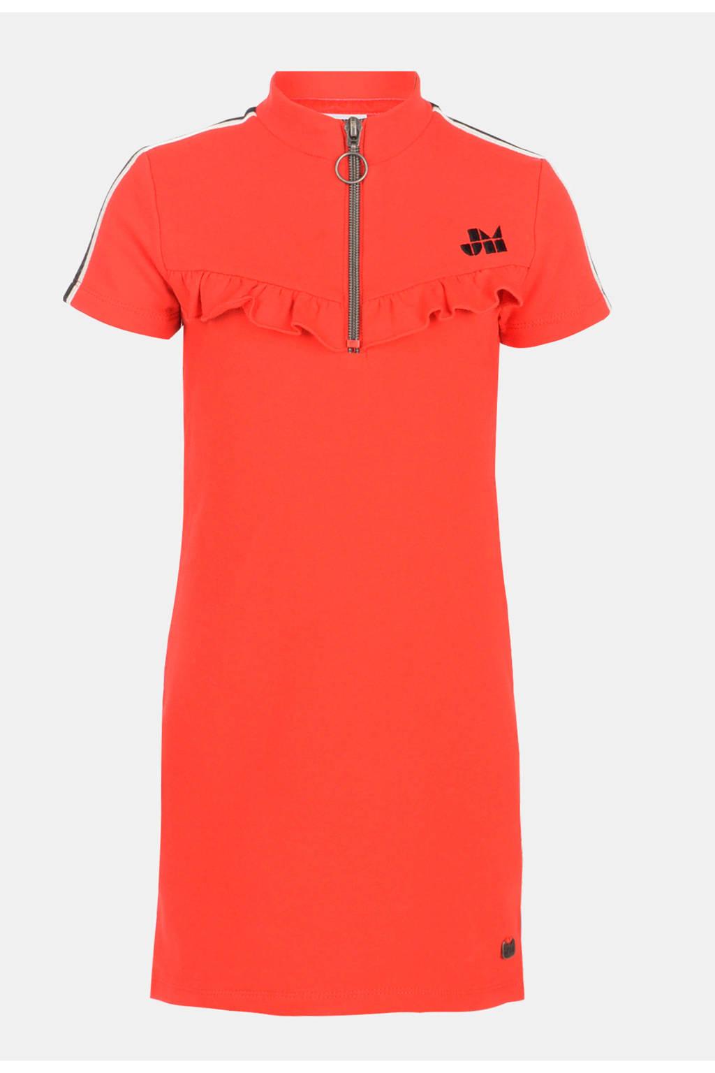 Jill jersey jurk Cathey met contrastbies en ruches rood, Rood