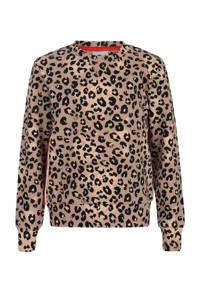 Jill sweater Charm met panterprint en contrastbies lichtbruin, Lichtbruin