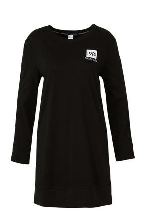 nachthemd met printopdruk zwart/wit
