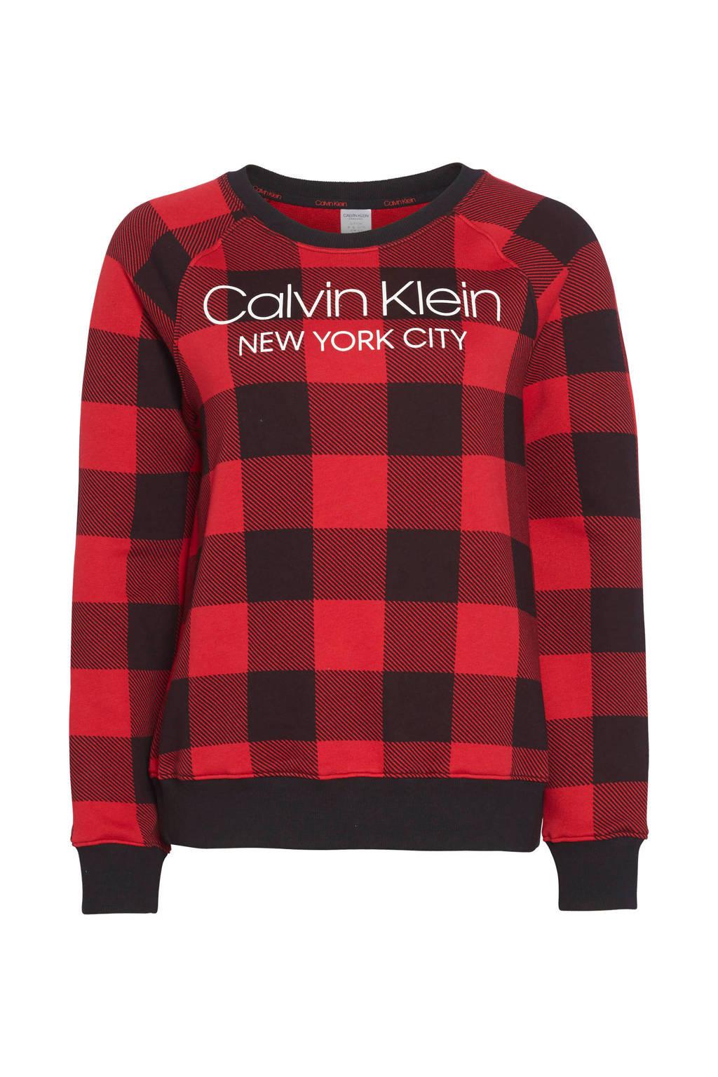 CALVIN KLEIN UNDERWEAR geruite loungetop rood/zwart, Rood/zwart