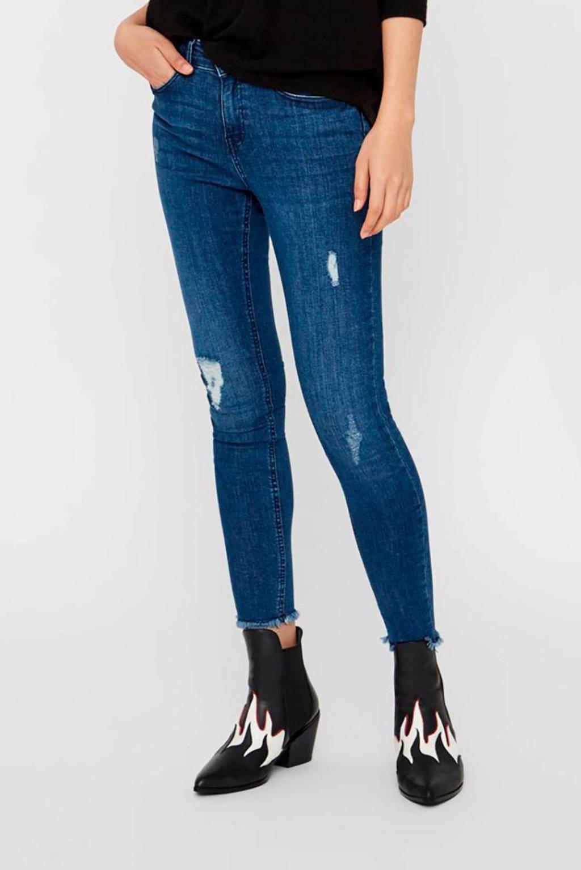 NOISY MAY skinny jeans met slijtage blauw, Blauw