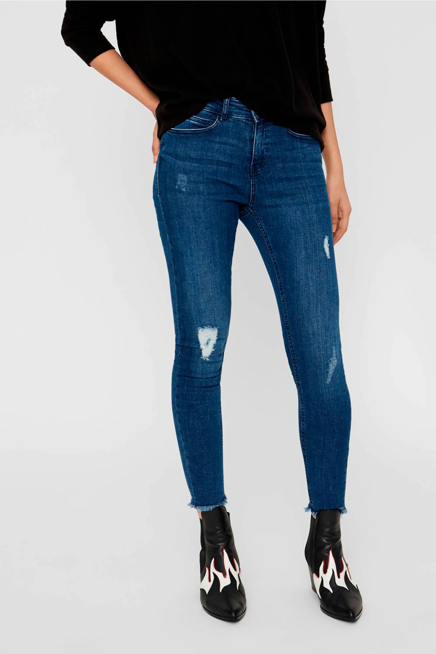 NOISY MAY skinny jeans met slijtage blauw