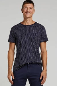 SUIT T-shirt met all over print en textuur marine, Marine