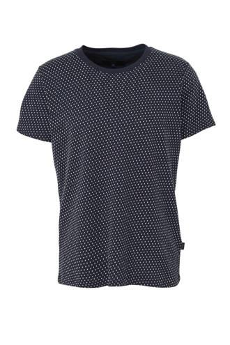 T-shirt met all over print en textuur marine