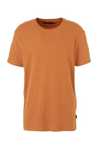 T-shirt met stippen en textuur oker/ecru