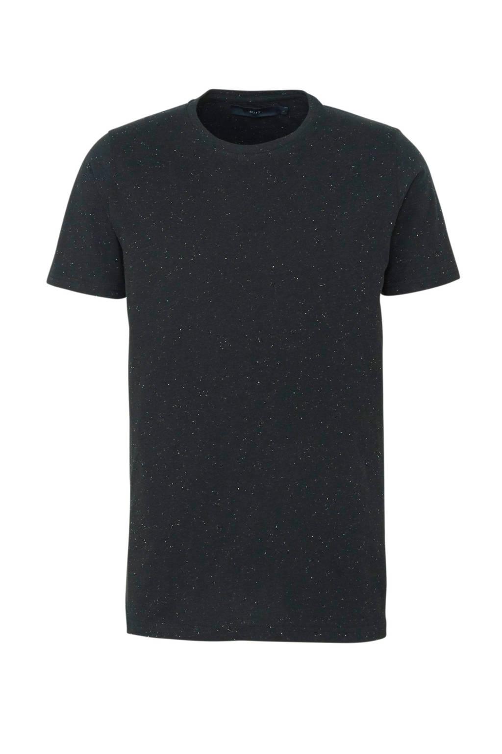 SUIT T-shirt met all over print zwart, Zwart