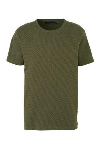 T-shirt met stippen en textuur groen