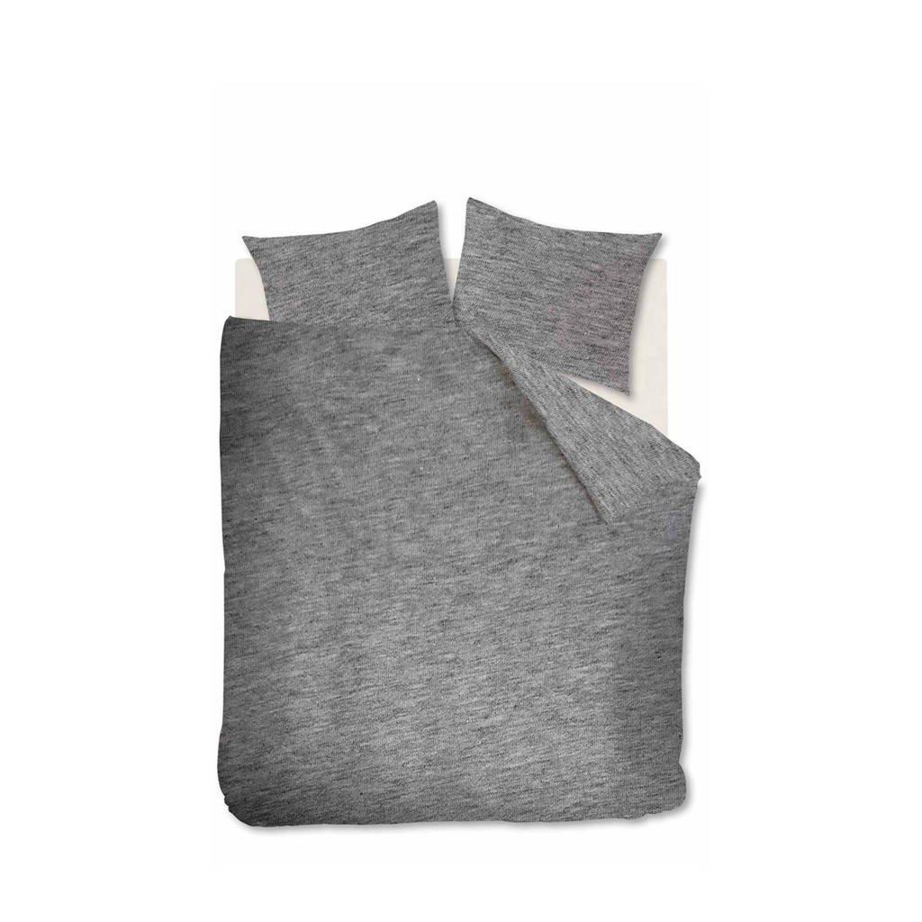 vtwonen jersey dekbedovertrek 2 persoons, Donker grijs, 2 persoons (200 cm breed)