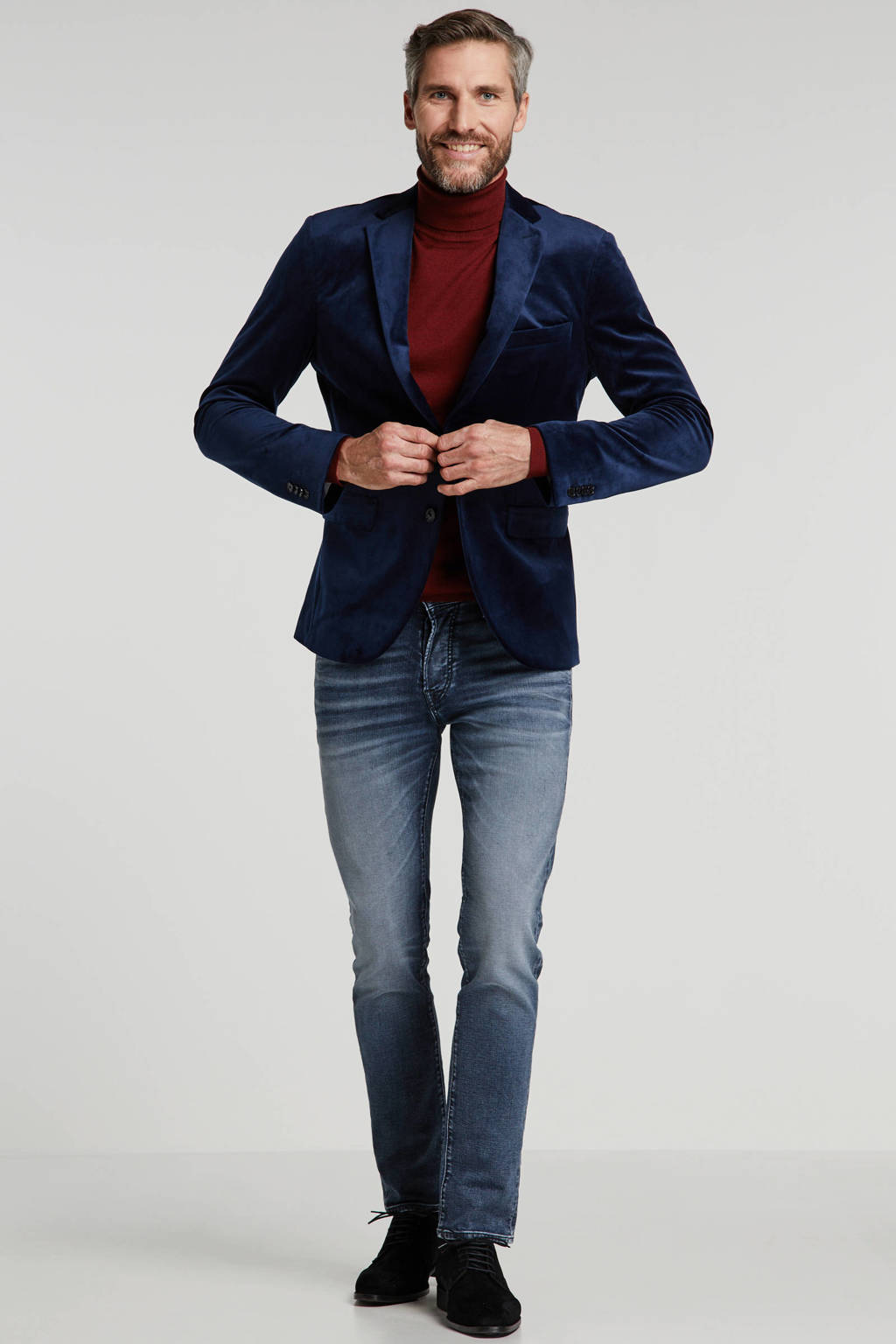 Matinique slim fit colbert donkerblauw, Donkerblauw