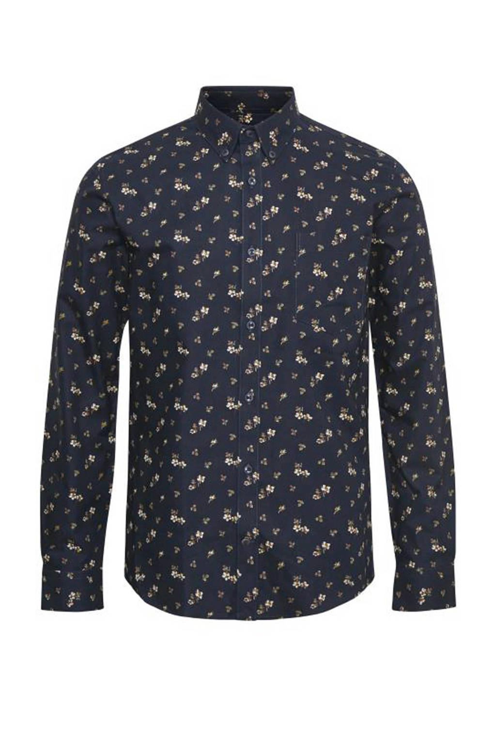 Matinique regular fit overhemd met all over print donkerblauw/bruin/wit/groen, Donkerblauw/bruin/wit/groen