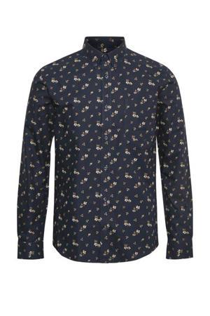 regular fit overhemd met all over print donkerblauw/bruin/wit/groen