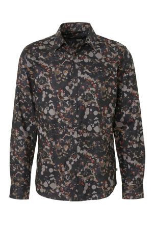 slim fit overhemd met all over print zwart/grijs/rood