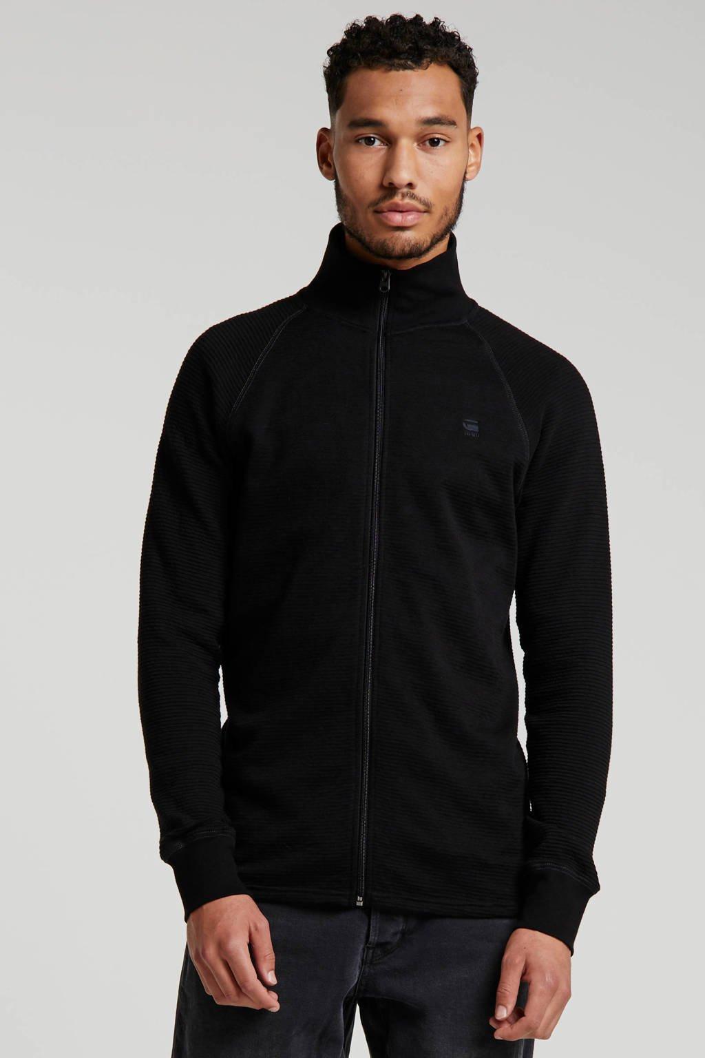 G-Star RAW ribgebreid vest met borduursels dk black, DK Black