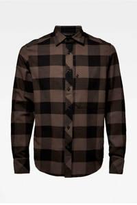 G-Star RAW geruit slim fit overhemd asfalt, Asfalt