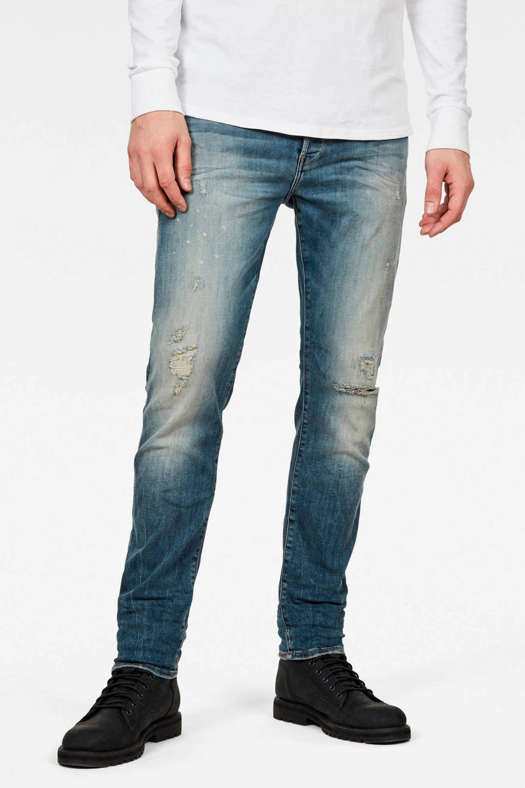 G-Star RAW slim fit jeans 3301 antic faded ripped marine, A936 antic faded ripped marine