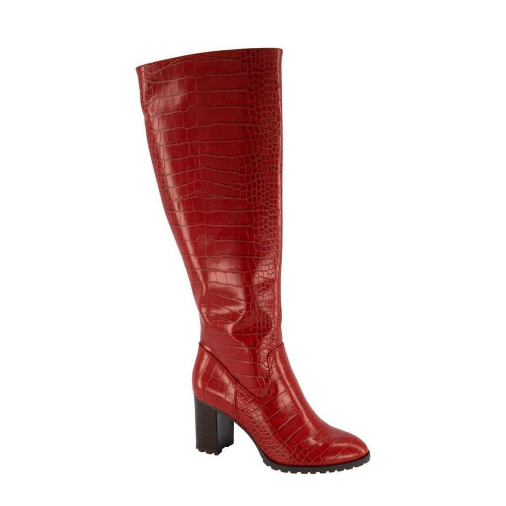 Graceland   lak laarzen crocoprint rood, Rood
