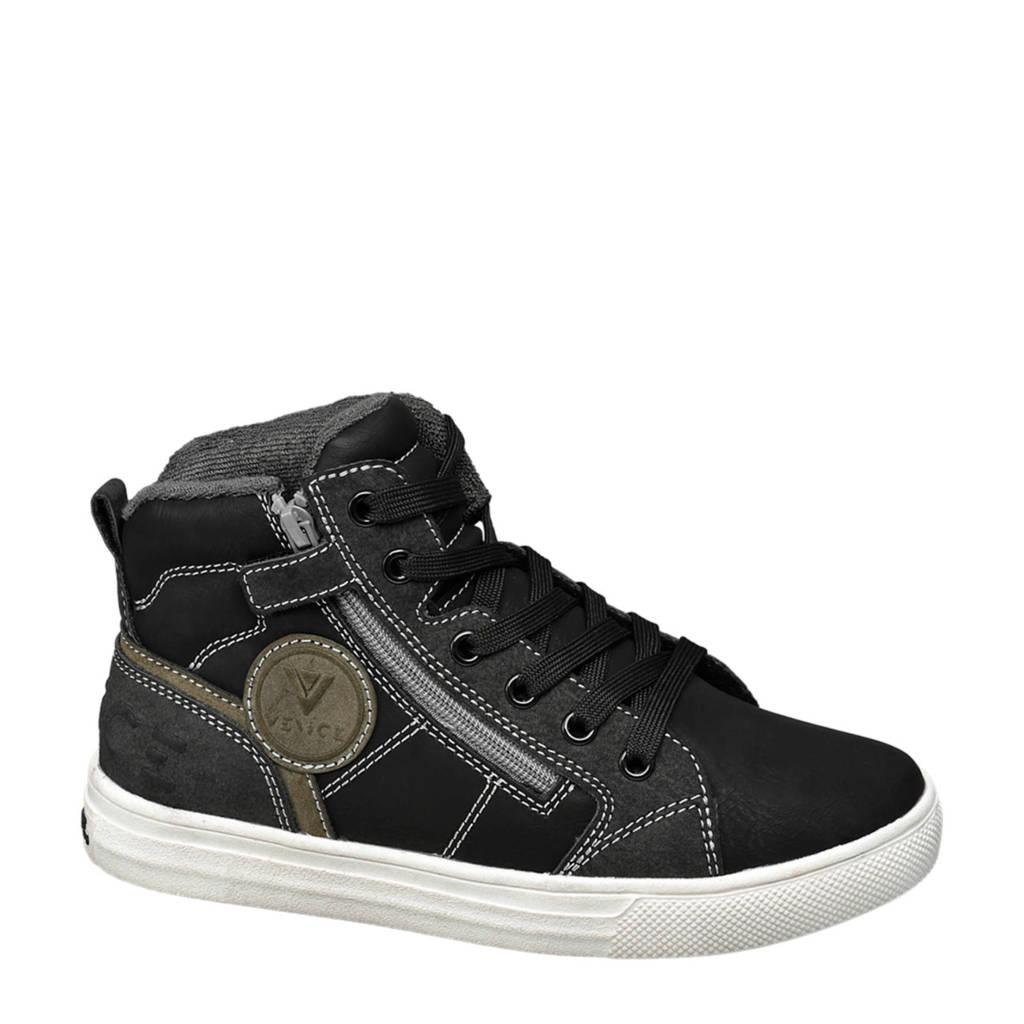 Vty   sneakers zwart, Zwart/olijfgroen