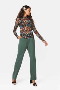 WE Fashion high waist loose fit pantalon groen, Groen