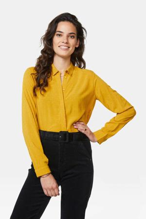 blouse met textuur geel