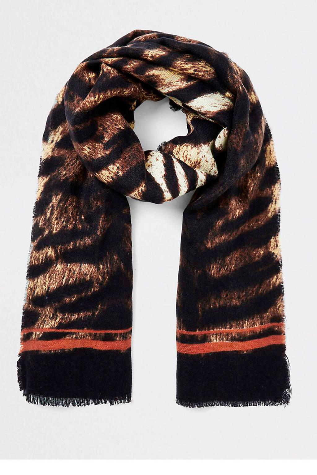River Island sjaal met tijgerprint beige, Beige/zwart/rood