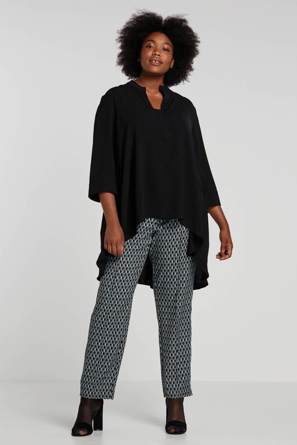 IVY BELLA slim fit broek met all over print blauw/zwart/beige, Blauw/zwart/beige