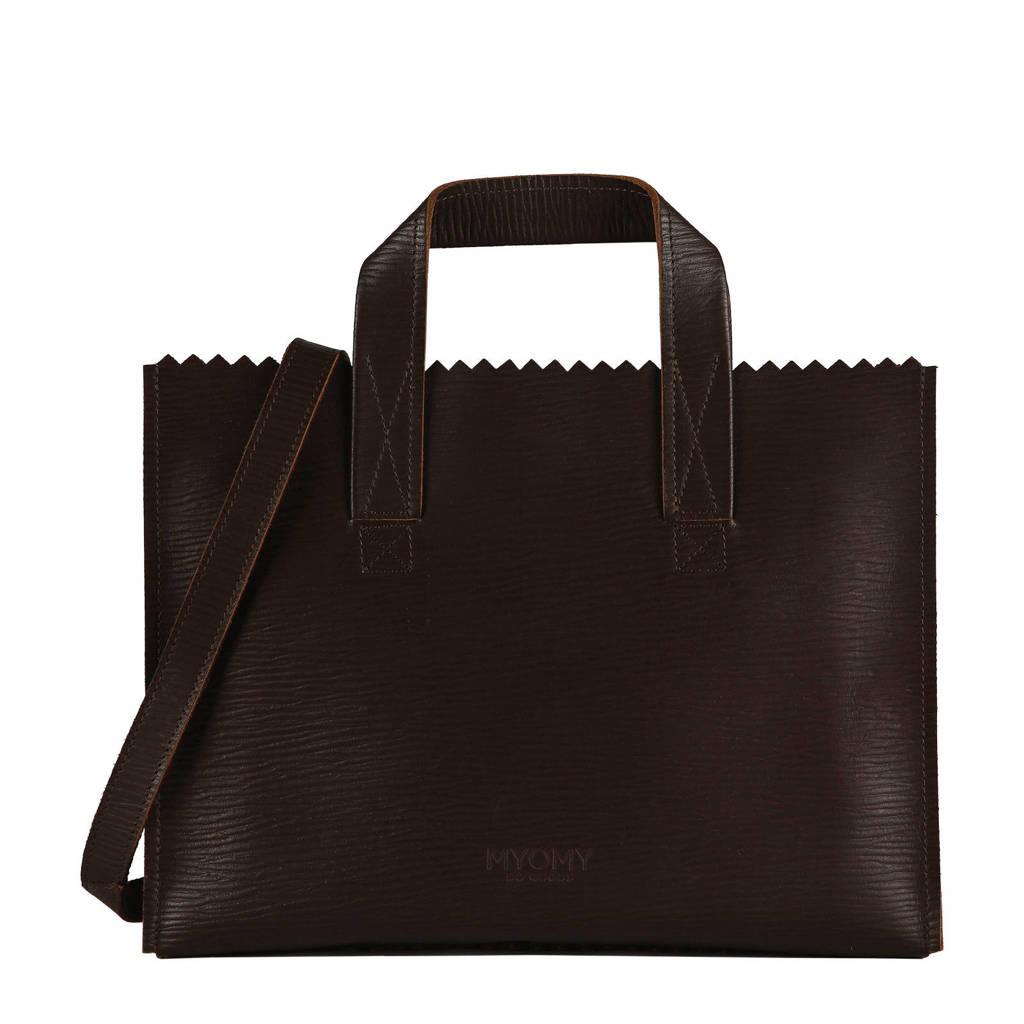 MYOMY MY PAPER BAG  leren crossbody tas bruin, Bruin