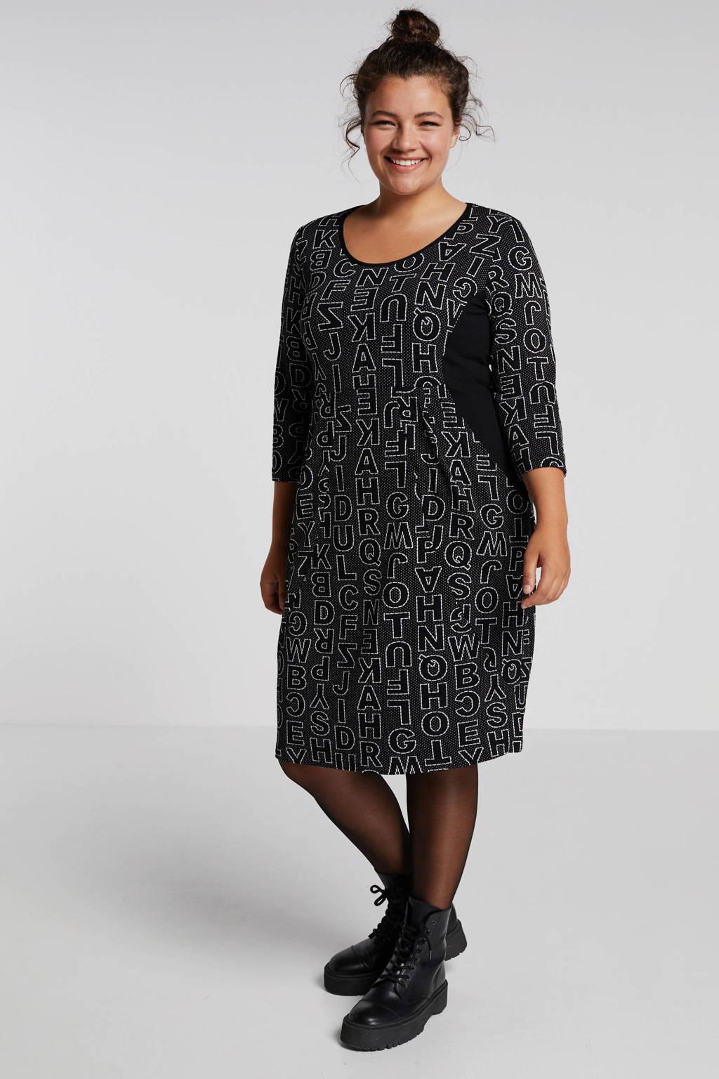 PONT NEUF jersey jurk met all over print zwart, Zwart