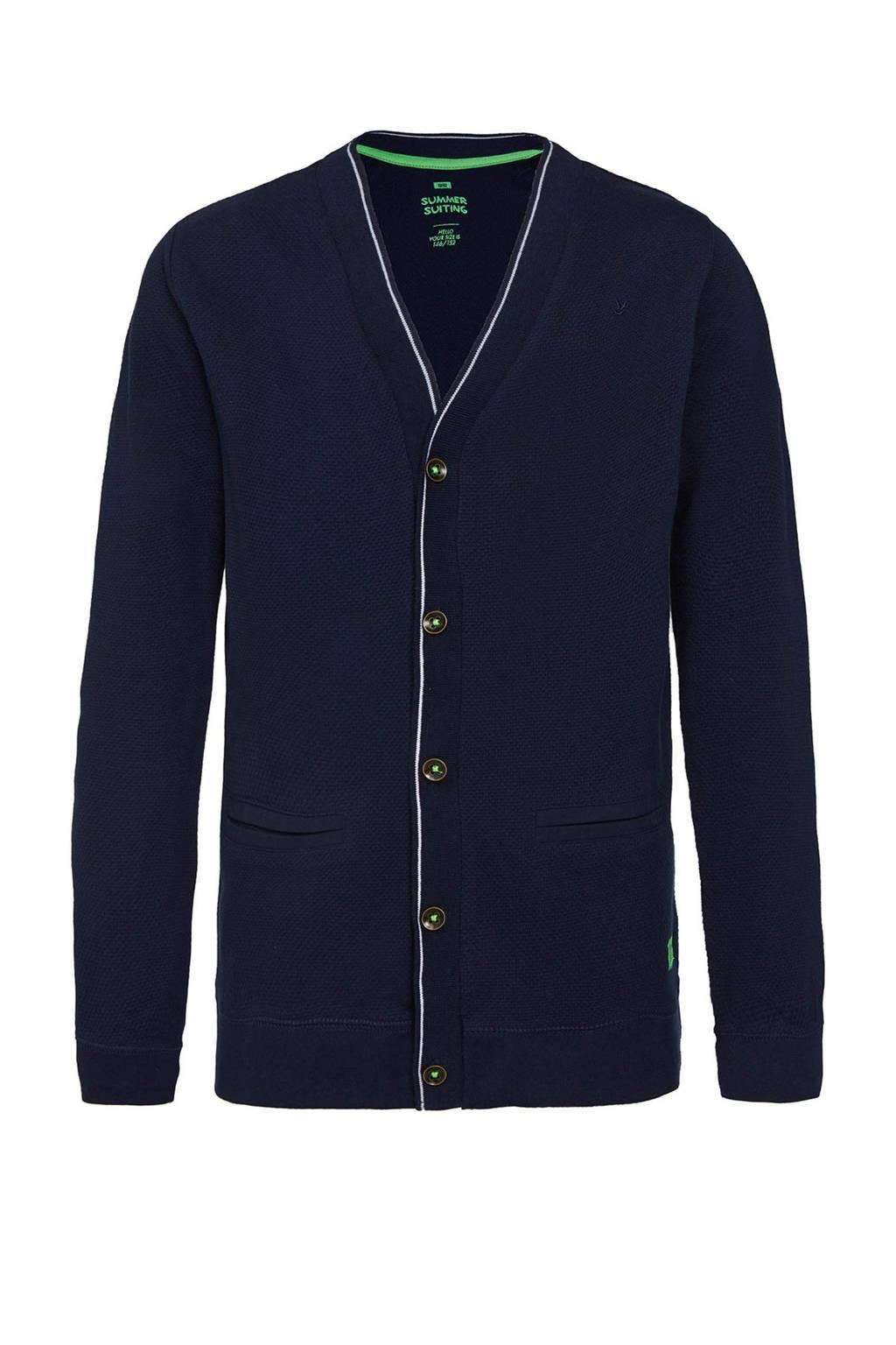 WE Fashion gebreid vest met textuur donkerblauw/wit/groen, Donkerblauw/wit/groen