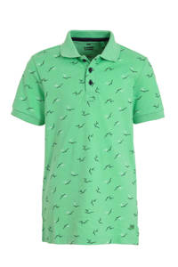 WE Fashion polo met all over print groen/donkerblauw/wit, Groen/donkerblauw/wit