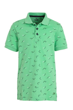 polo met all over print groen/donkerblauw/wit