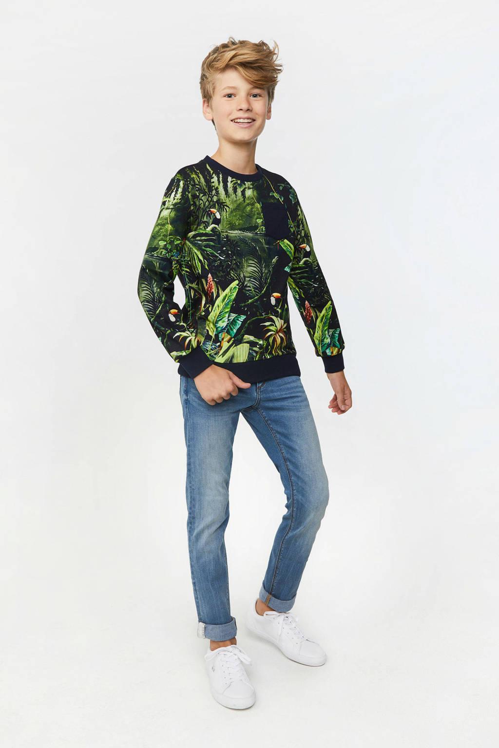 WE Fashion Blue Ridge skinny jeans met zijstreep stonewashed, Stonewashed
