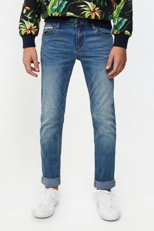 skinny jeans met zijstreep stonewashed