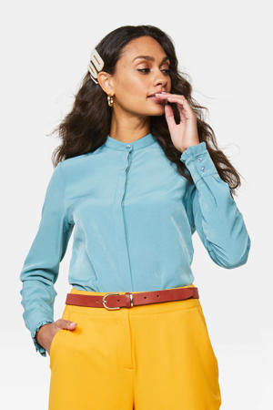 satijnen blouse blauw