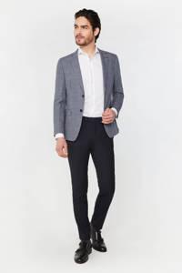 WE Fashion Van Gils geruit slim fit colbert met linnen royal navy, Royal Navy