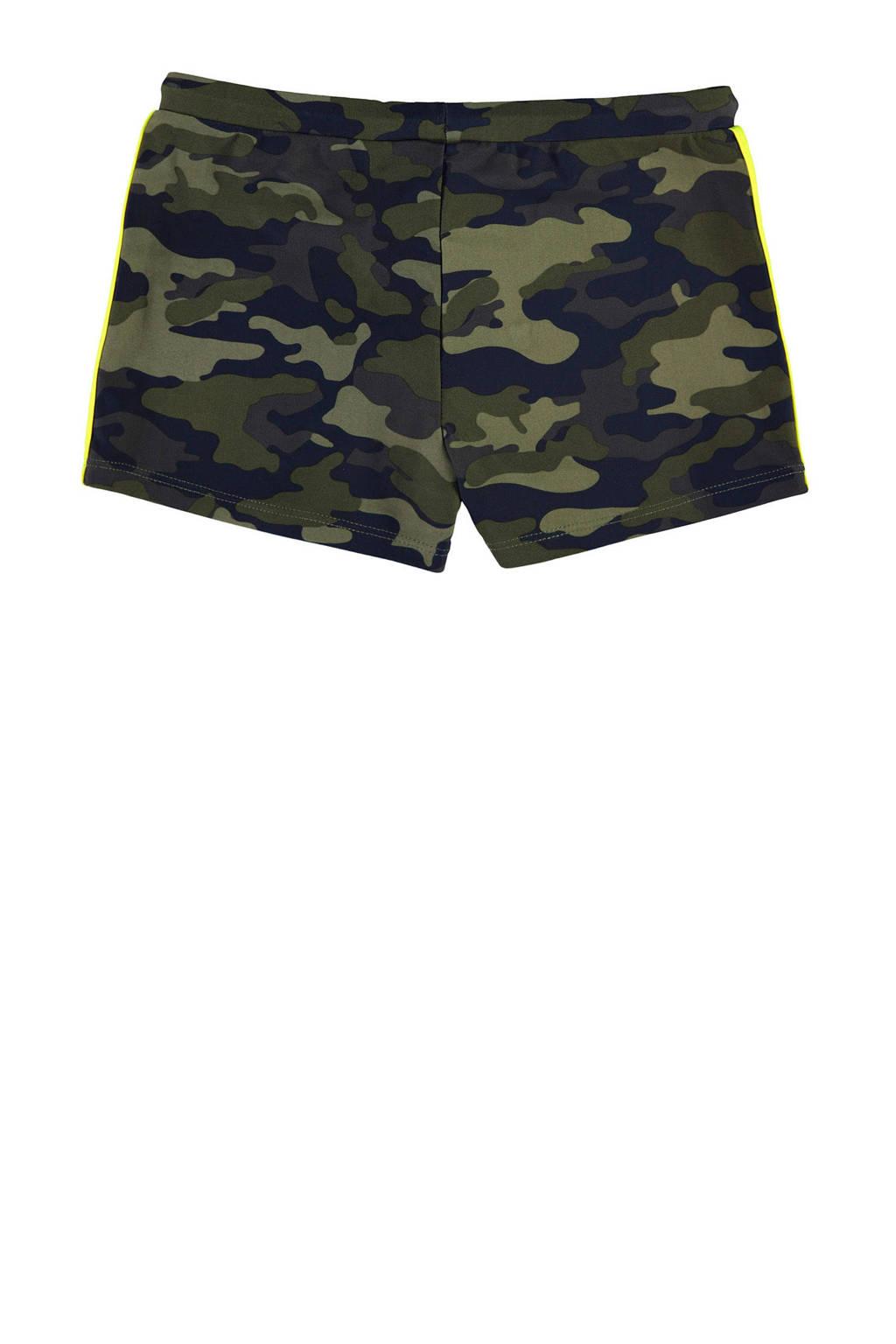 WE Fashion zwemboxer met camouflage print groen, Groen