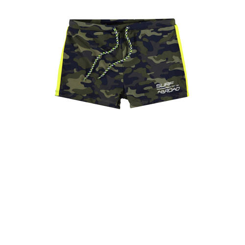 WE Fashion zwemboxer met camouflage print groen