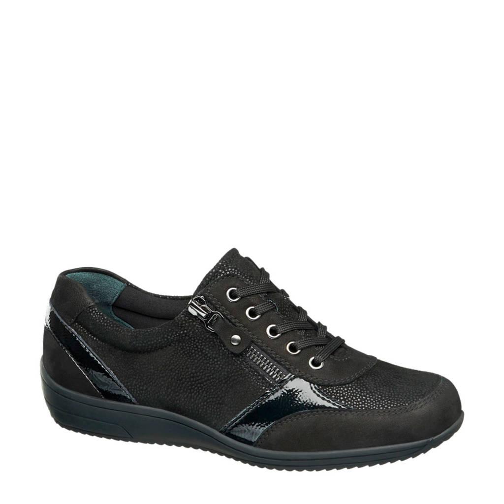 Medicus  comfort leren sneakers zwart, Zwart