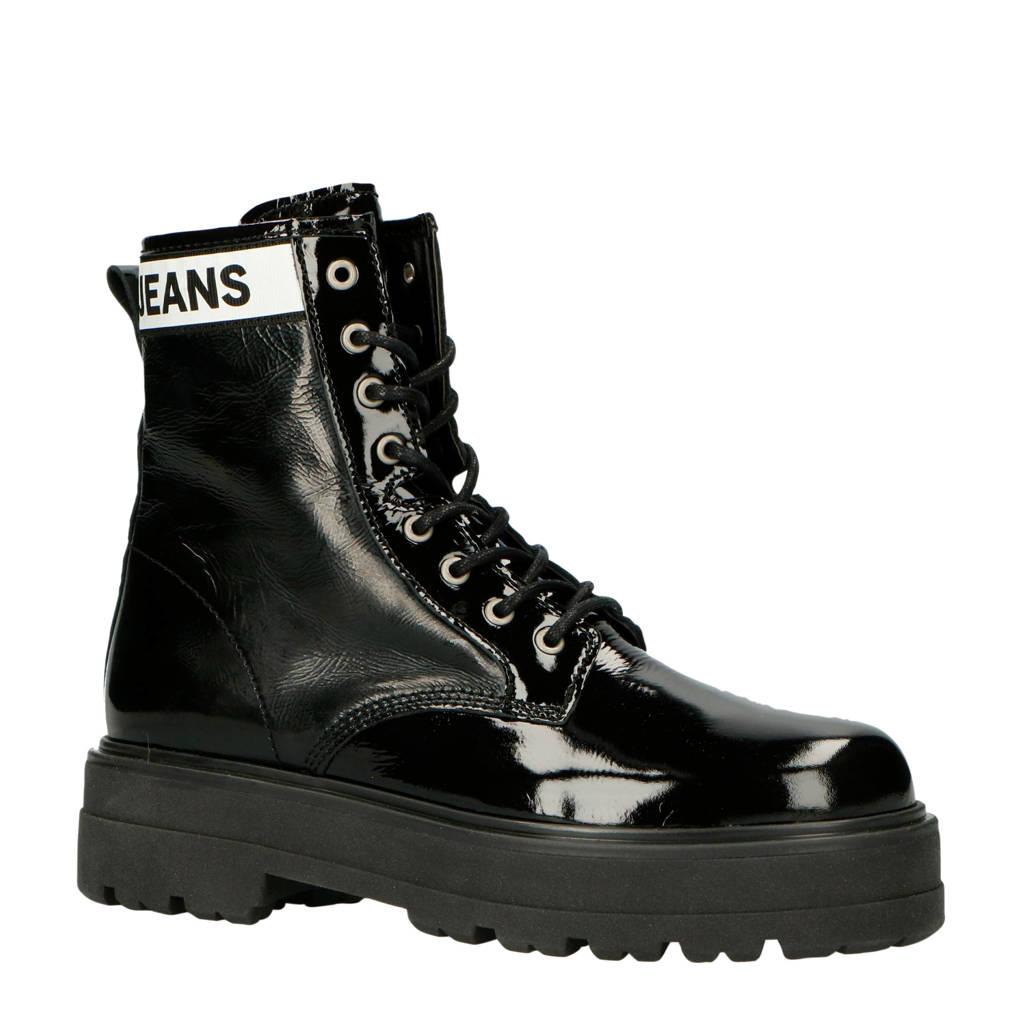Tommy Jeans Flatform Boot lakleren veterboots zwart/wit, Zwart/wit