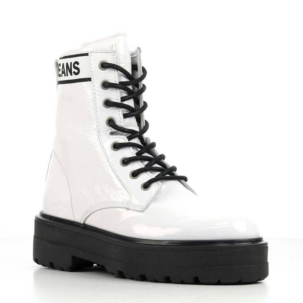 Tommy Jeans Flatform Boot lakleren veterboots wit/zwart, Wit