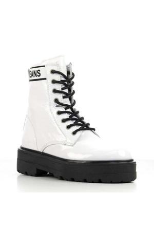 Flatform Boot lakleren veterboots wit/zwart